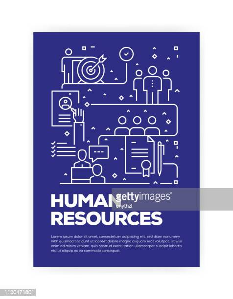 human resources concept line style cover design for annual report, flyer, brochure. - poster stock illustrations