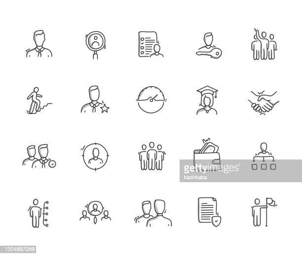 illustrazioni stock, clip art, cartoni animati e icone di tendenza di set di icone di disegno a mano risorse umane - disegnare