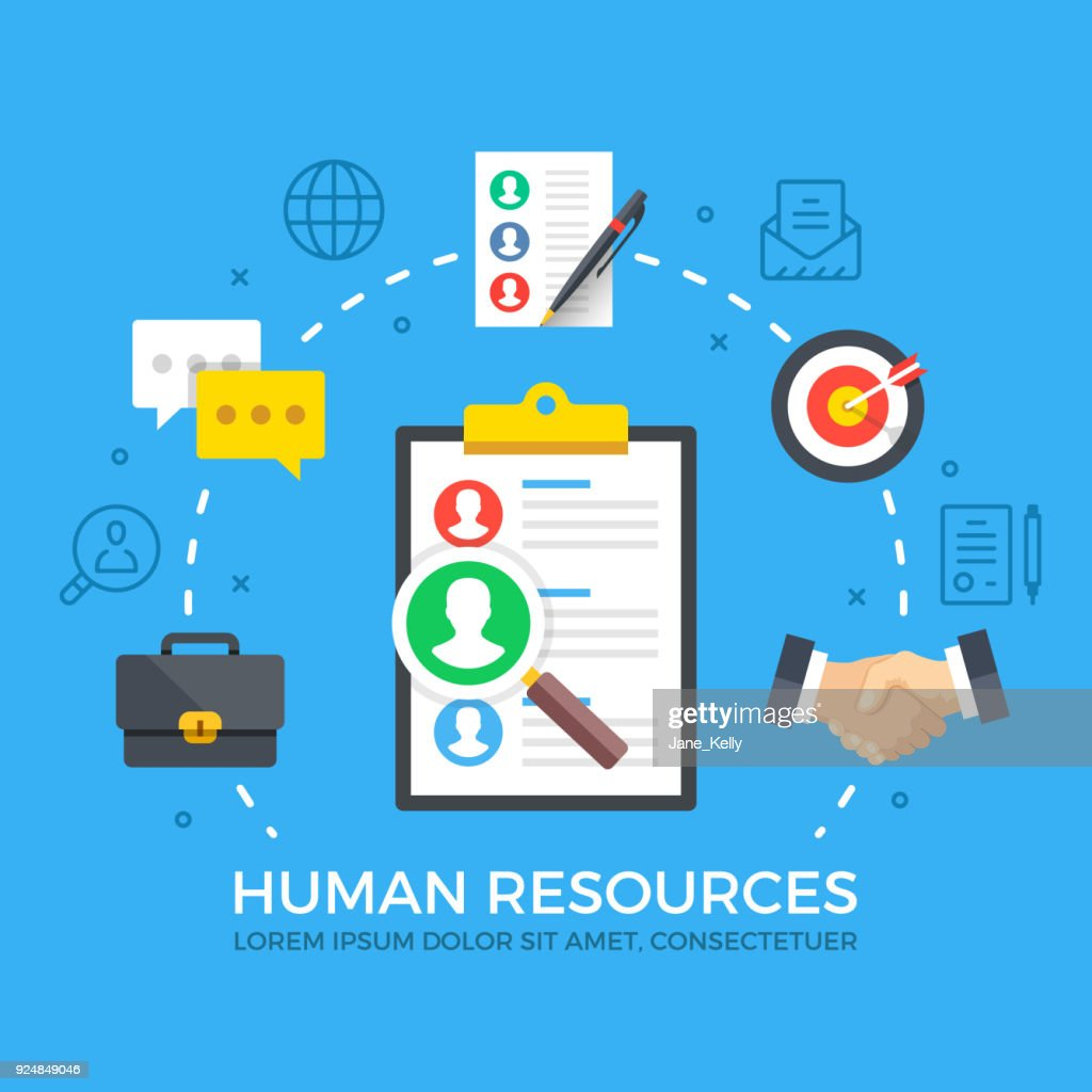 Human resources. HR, find employees, job search, recruiting agency concepts. Modern flat design style graphic elements. Thin line icons set and flat icons set. Premium quality. Vector illustration