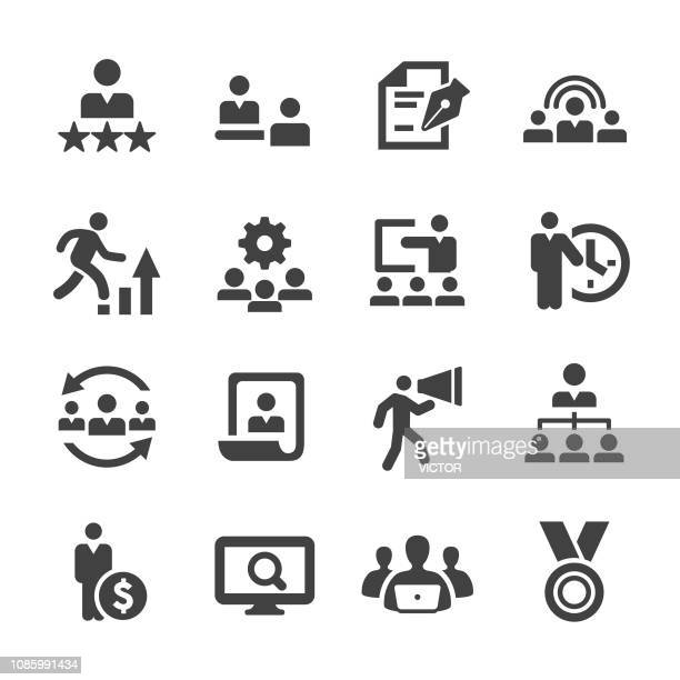 human resources icons - acme series - downsizing unemployment stock illustrations
