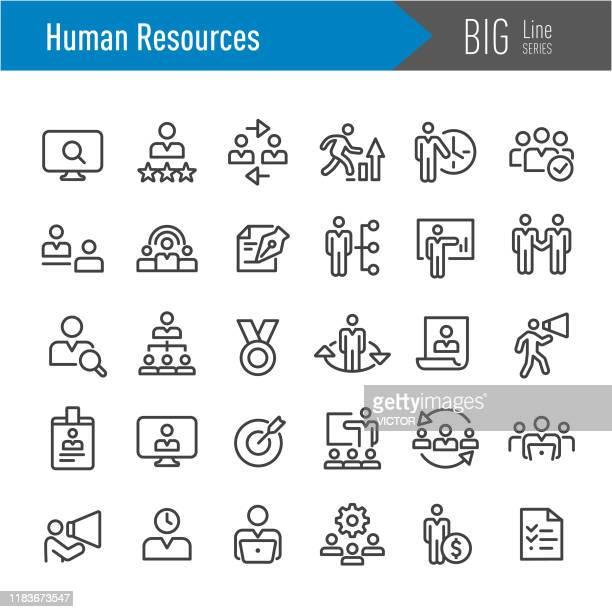 stockillustraties, clipart, cartoons en iconen met human resources-pictogrammen-grote lijn serie - aanvraagformulier