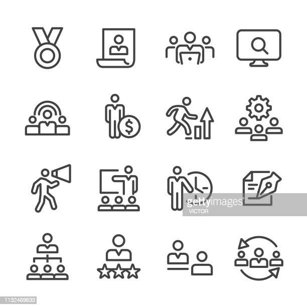 human resources icons - line series - downsizing unemployment stock illustrations, clip art, cartoons, & icons