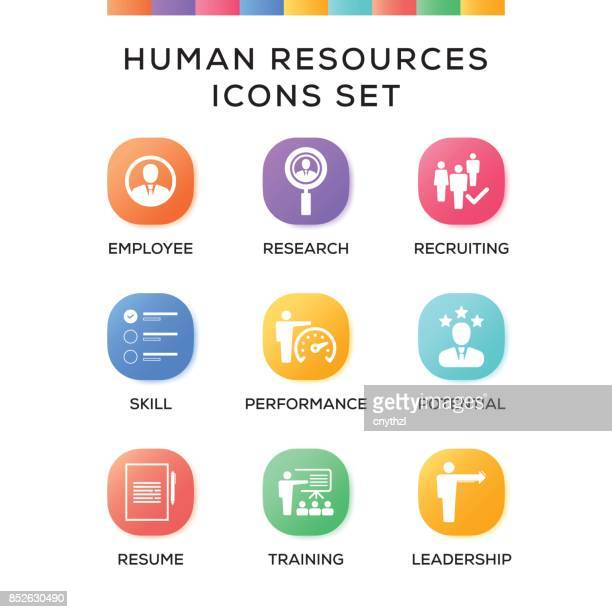 Human Resources Icons Set on Gradient Background