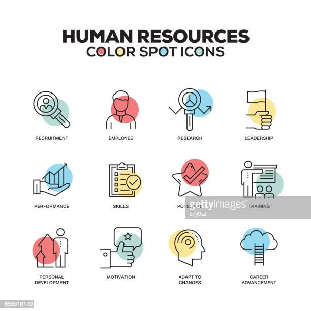 Human Resources icons. Vector line icons set. Premium quality. Modern outline symbols and pictograms.
