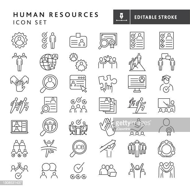 human resources, job and employee searches, interviewing and recruiting, team work, business people big thin line icon set - editable stroke - new hire stock illustrations