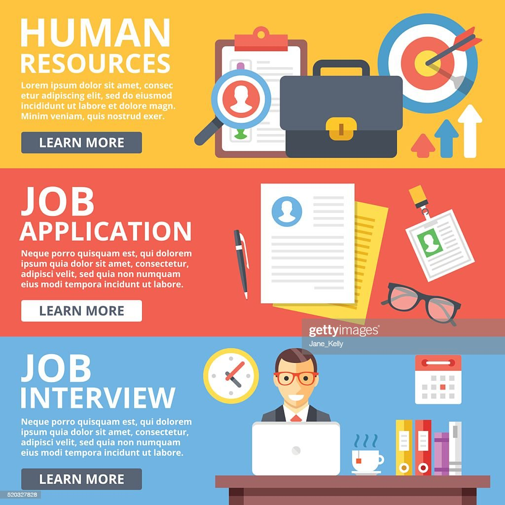 Human resources, job application, job interview flat illustration set