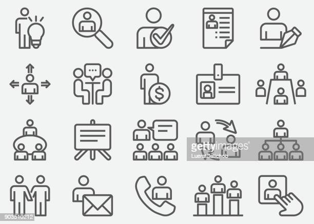 human resources line icons - searching stock illustrations, clip art, cartoons, & icons