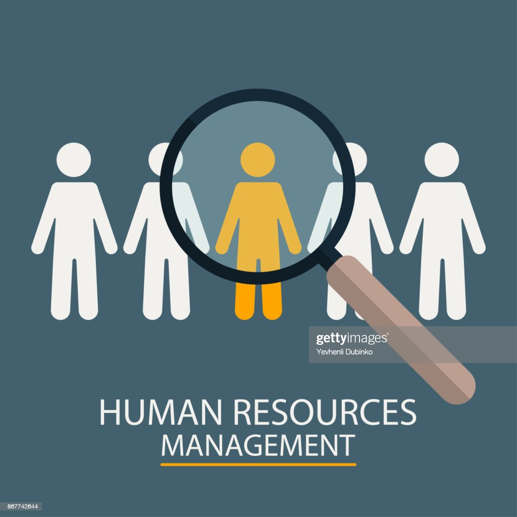 Human Resources Management. Candidate selection illustration. Magnifier with people silhouettes