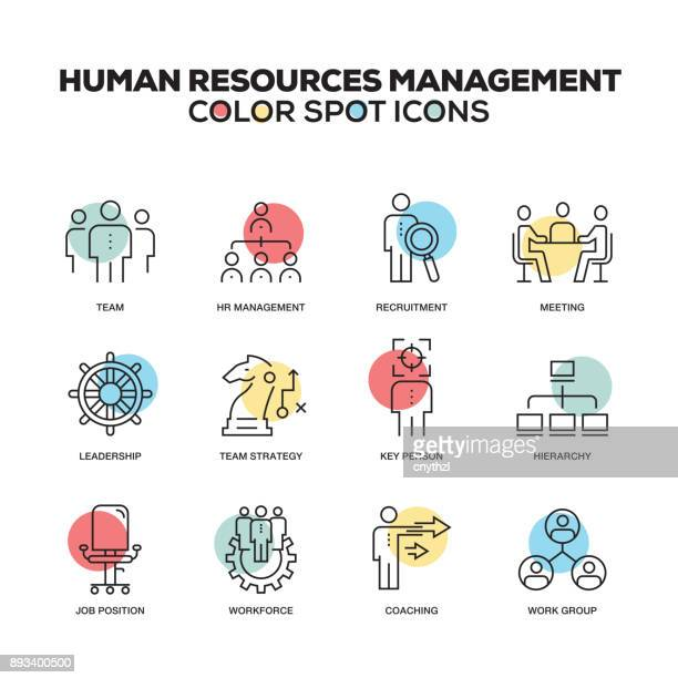Human Resources Management icons. Vector line icons set. Premium quality. Modern outline symbols and pictograms.