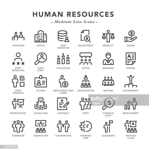 human resources - medium line icons - memories stock illustrations