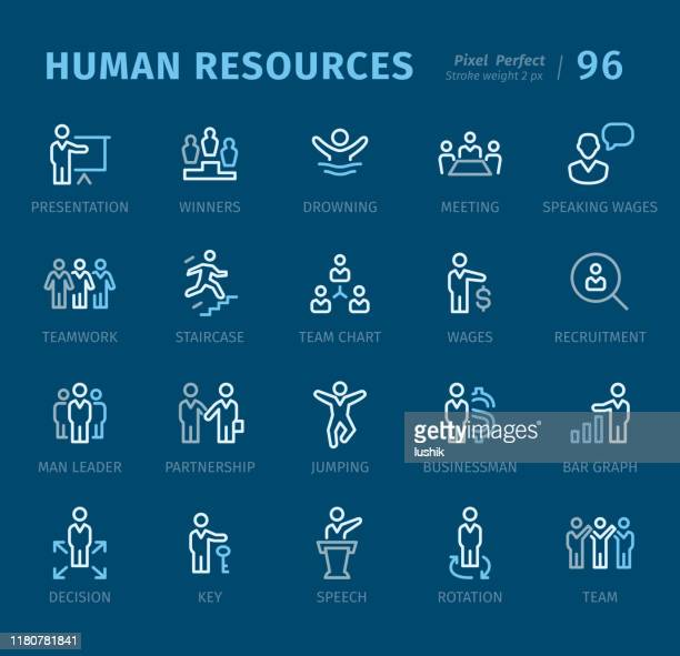 human resources - outline icons with captions - new hire stock illustrations