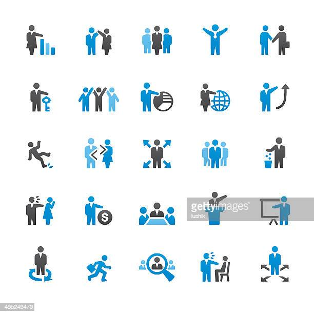 human resources related vector icons - downsizing unemployment stock illustrations, clip art, cartoons, & icons