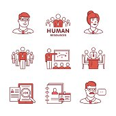 Human resources, team work and building signs set