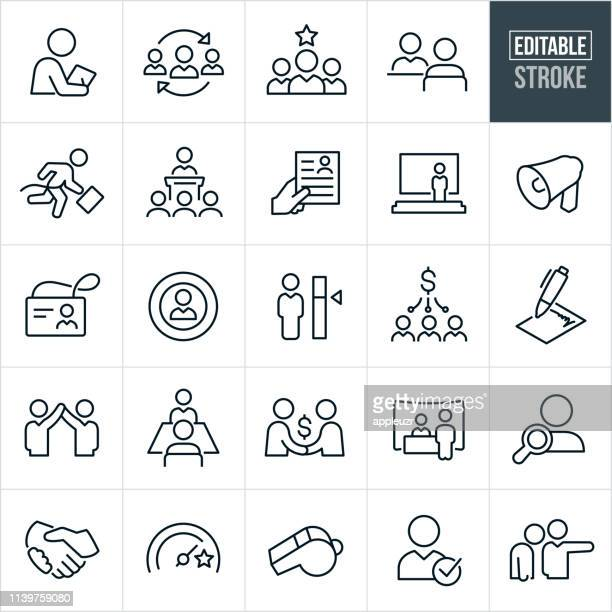 human resources thin line icons - editable stroke - variation stock illustrations
