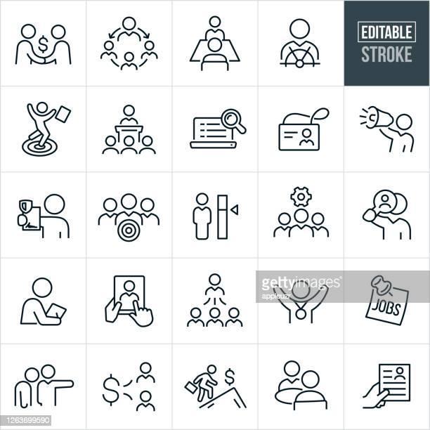 stockillustraties, clipart, cartoons en iconen met pictogrammen voor dunne lijn human resources - bewerkbare lijn - aanvraagformulier