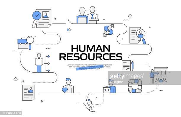 illustrazioni stock, clip art, cartoni animati e icone di tendenza di concetto di progettazione di banner vettoriali per le risorse umane. modello di illustrazione vettoriale icona linea struttura per siti web, presentazione e così via. - reparto assunzioni