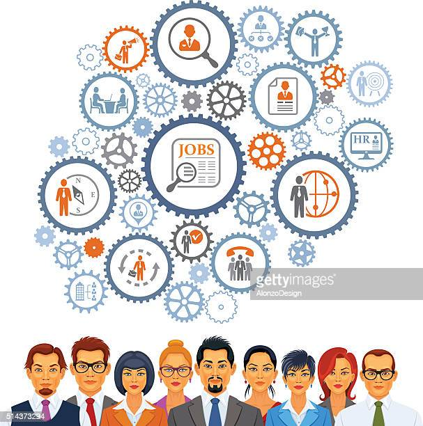 human resources - cog stock illustrations