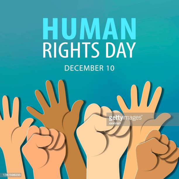 human rights day hands raised - human rights campaign stock illustrations