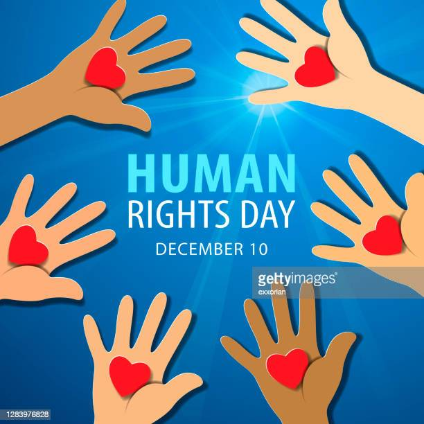 human rights day hands with hearts - human rights campaign stock illustrations