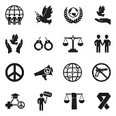 Human Rights Icons. Black Flat Design. Vector Illustration.