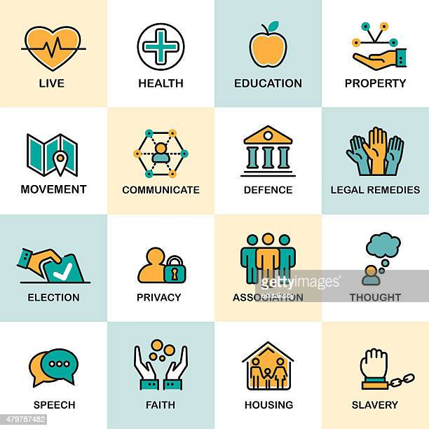 human rights line icon set - declaration of independence stock illustrations, clip art, cartoons, & icons