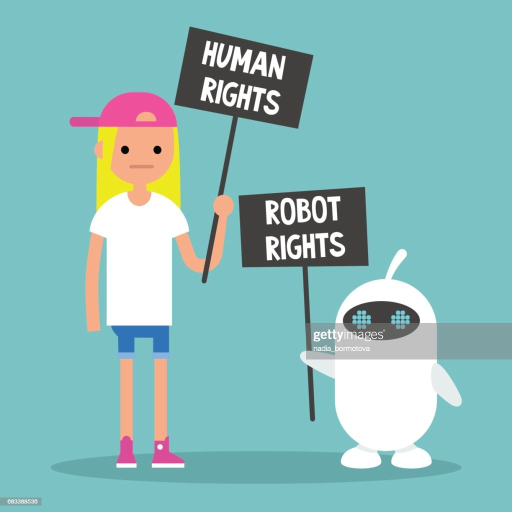 Human rights vs Robot rights / Cartoon characters holding protest signs / Flat editable vector illustration, clip art