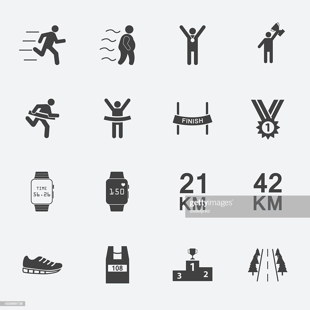 human run icons set.vector.