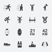 human run icons set.vector.