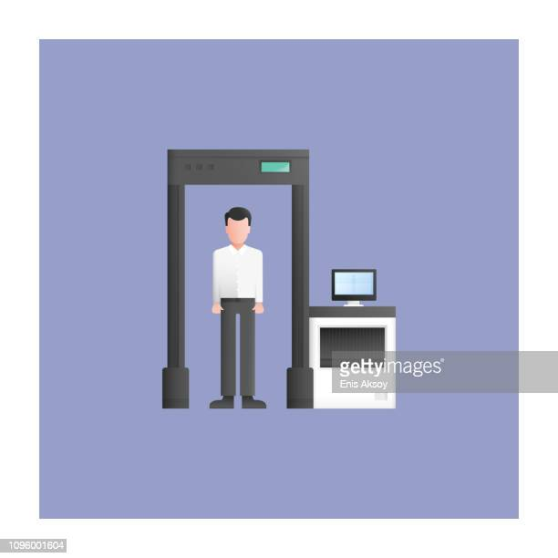 human scanner icon - x ray equipment stock illustrations, clip art, cartoons, & icons