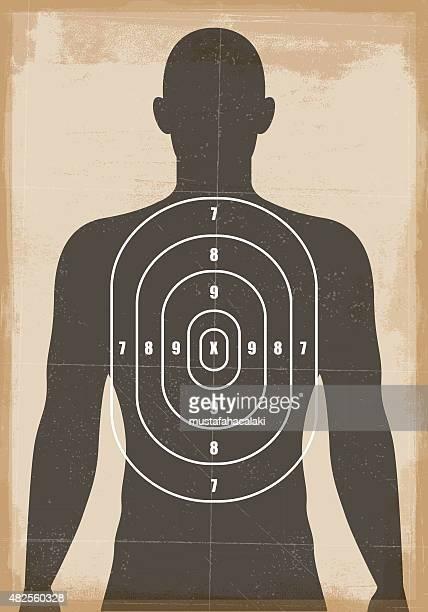 ilustrações de stock, clip art, desenhos animados e ícones de humana tiro ao alvo - armadefogo