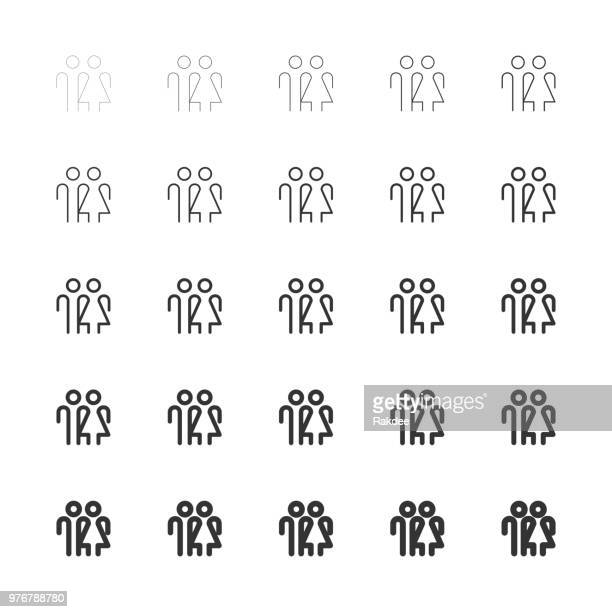 human sign icons - multi line series - male likeness stock illustrations