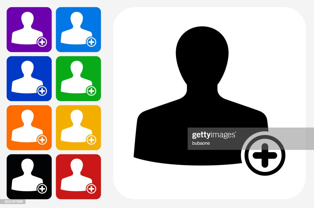 Human Silhouette and Plus Sign Icon Square Button Set