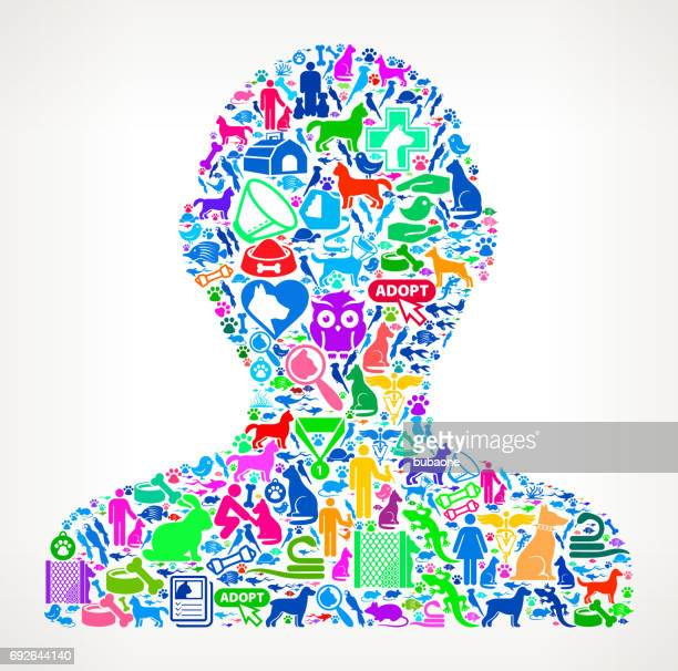Human Silhouette Pets and Animals Vector Icon Background