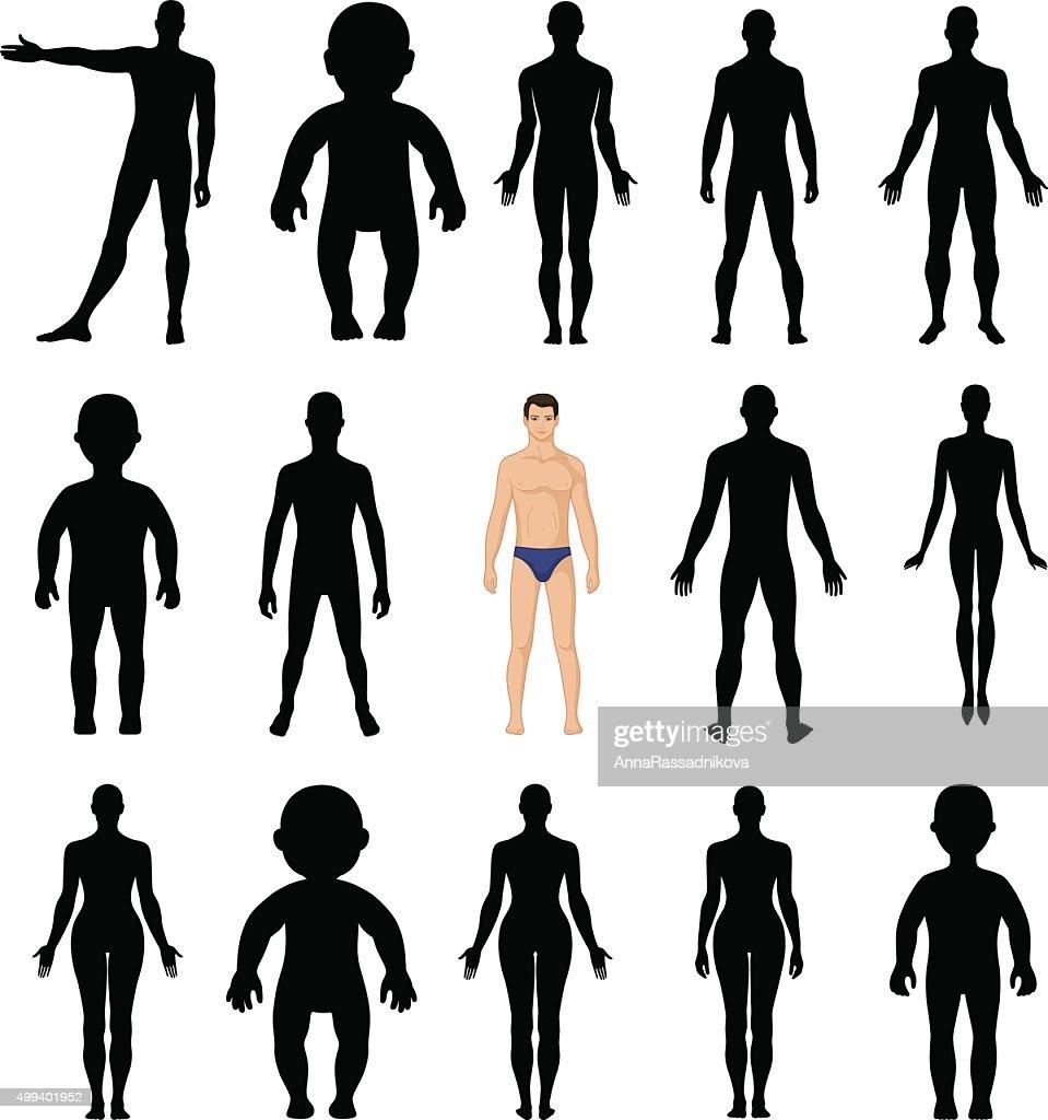 Human silhouettes template figure