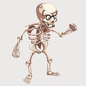 Human skeleton closeup with eyes in cartoon style