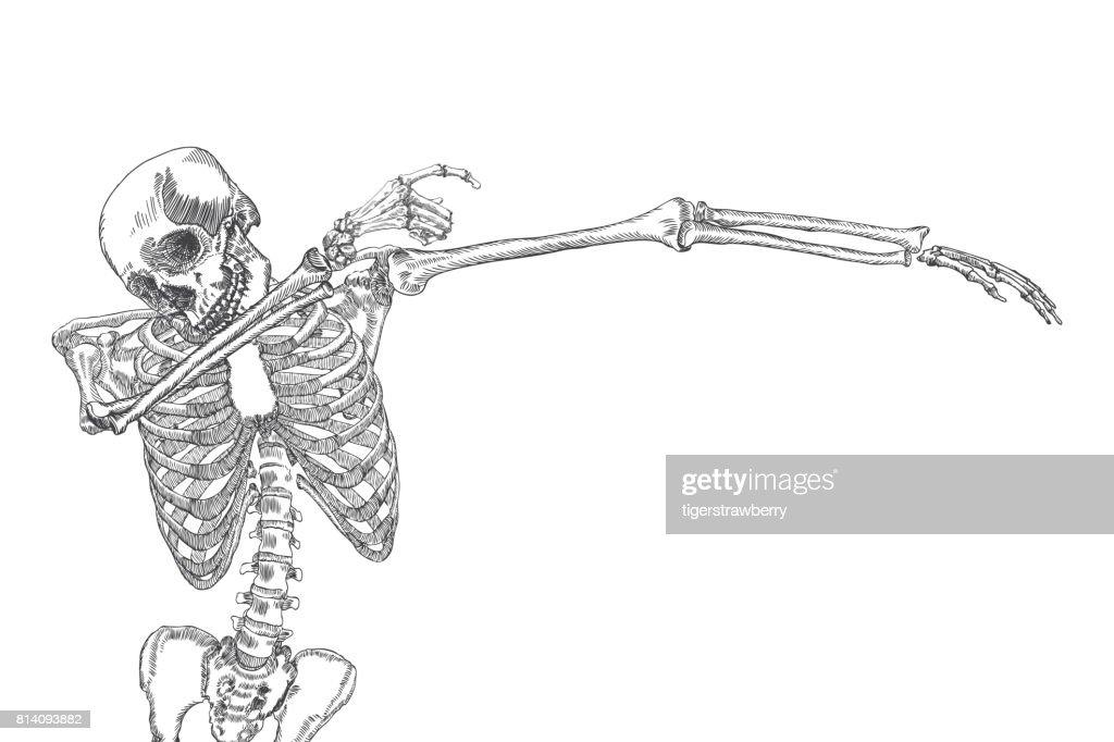 Human Skeleton Dancing Dab Perform Dabbing Move Gesture