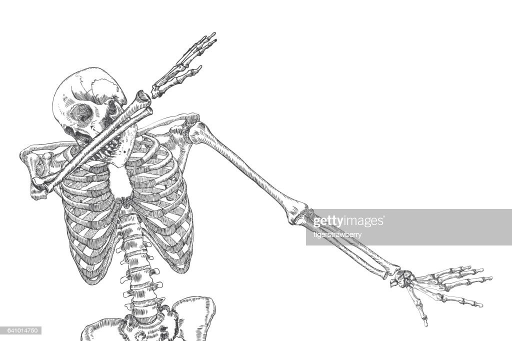 human skeleton dancing dab perform dabbing move gesture posing