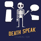 human skeleton with text bubble - vector illustration