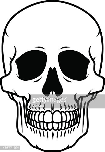 Human Skull Black And White Line Art Icon Vector Art