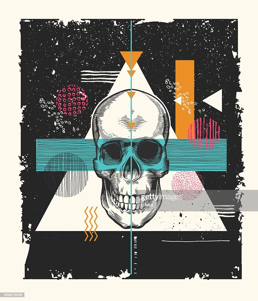 Human skull drawn in etching style surrounded by geometric shapes