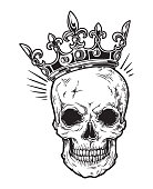 Human skull with crown for tattoo design.
