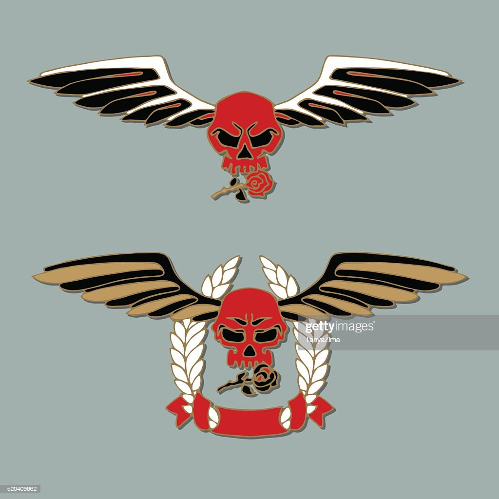 Human skulls with roses and wings on gray background