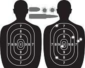 Human target, bullet holes and cartridge case