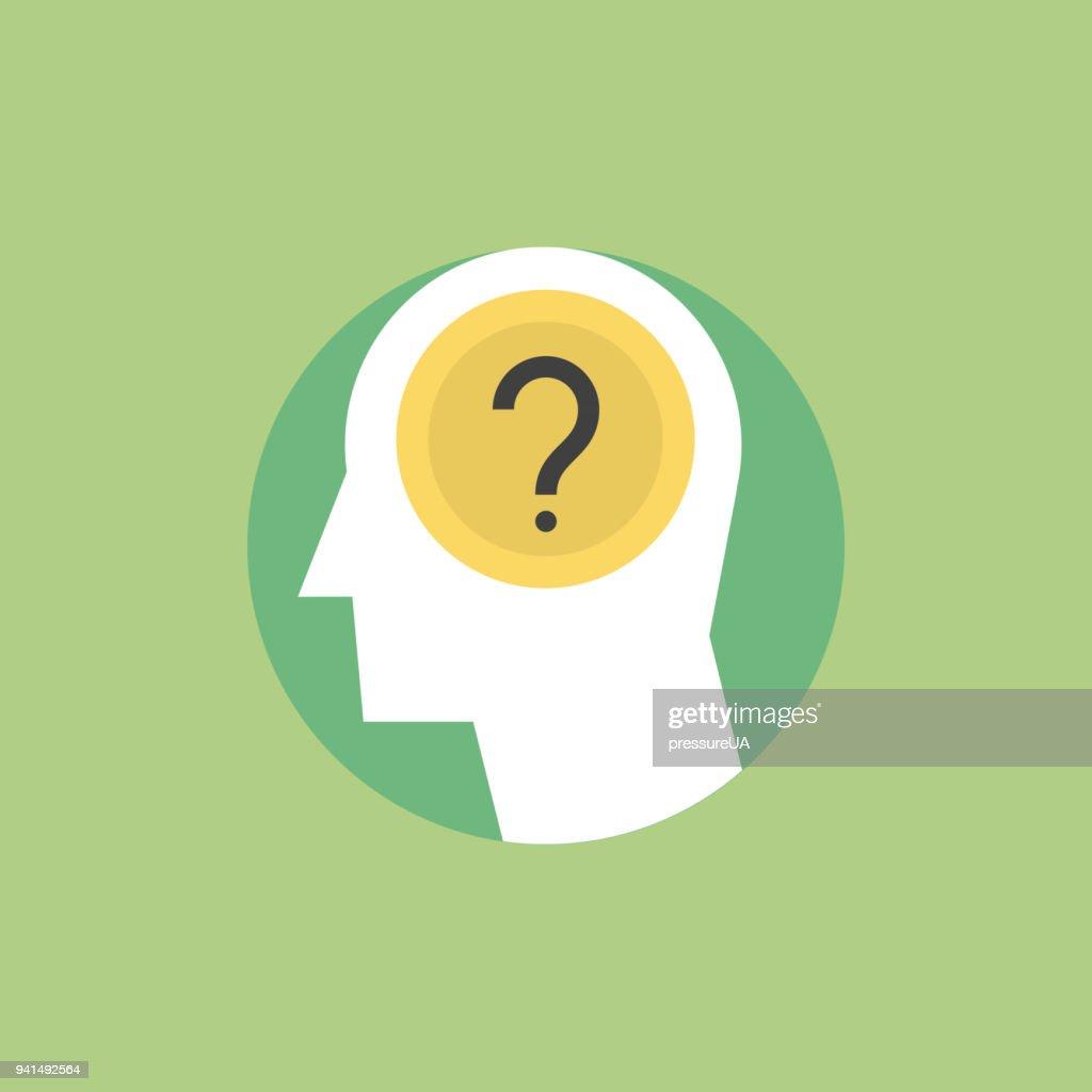 Human thinking process flat icon illustration : stock illustration