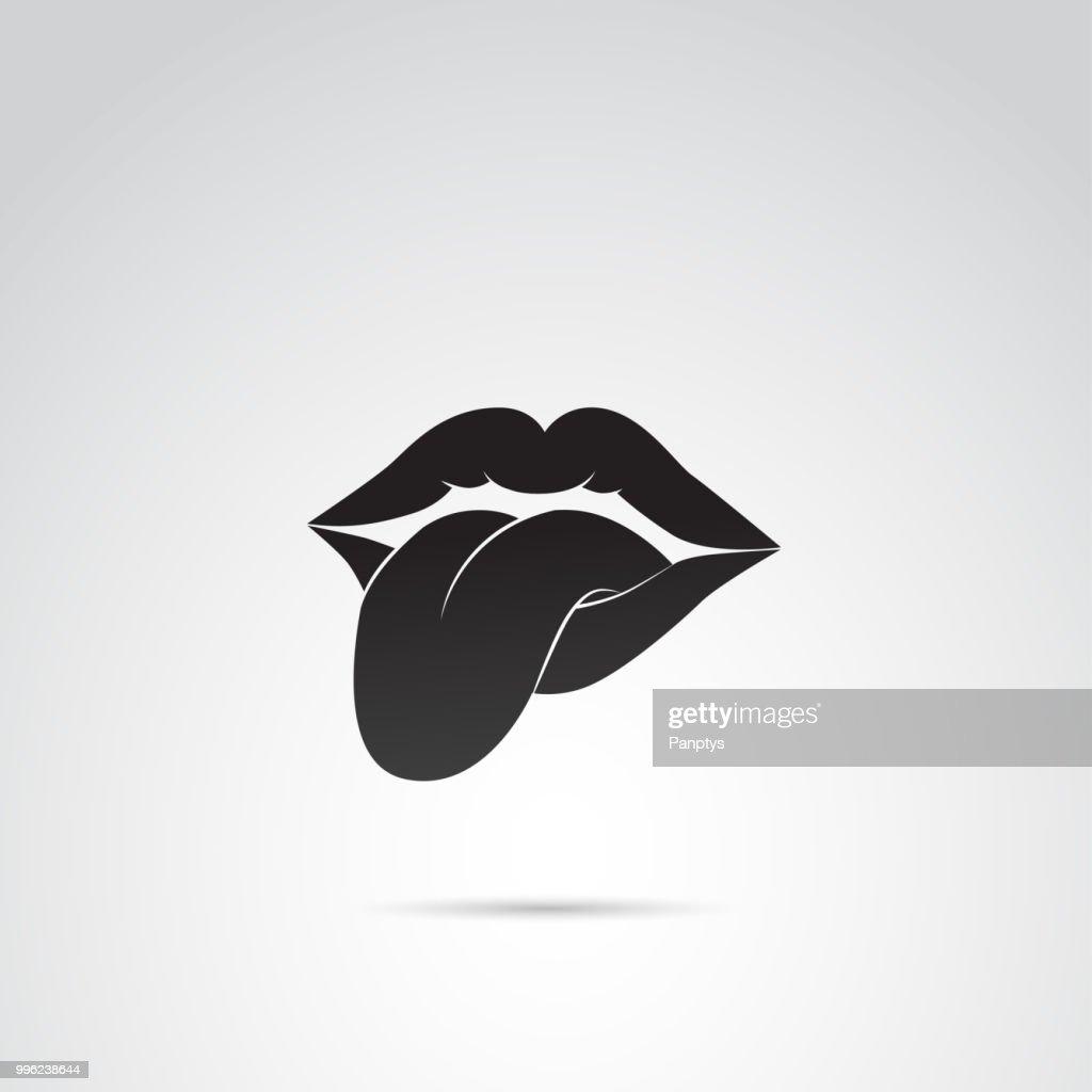 Human tongue and lips vector icon.