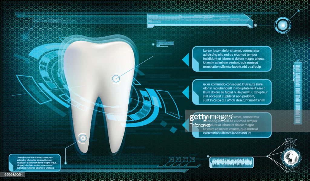 Human tooth on a technology background. Whitening and treatment.