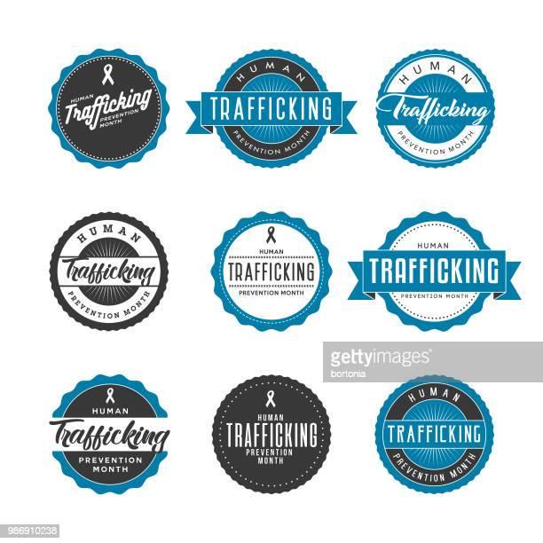 human trafficking prevention month icon set - human trafficking stock illustrations