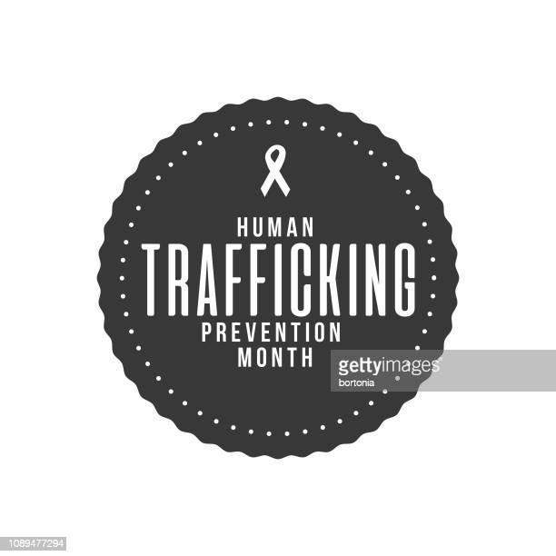 human trafficking prevention month label - human trafficking stock illustrations