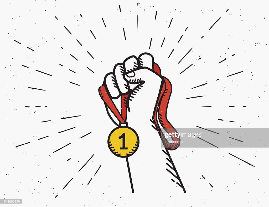 Human vintage hand holds red ribbon with golden medal