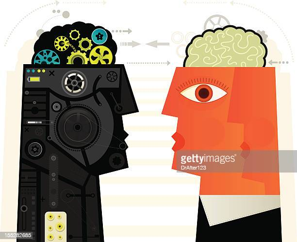 human vs machine - artificial stock illustrations
